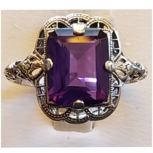 4ct Edwardian Style Amethyst Ring Size 8